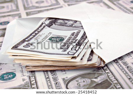 envelope on american money background