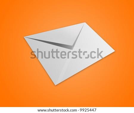 Envelope on orange background - stock photo