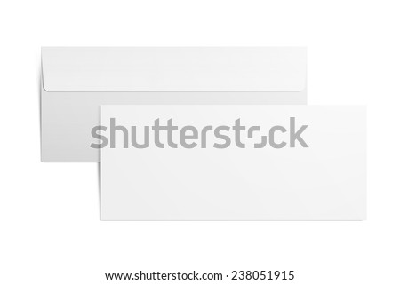 Envelope on white background. Back and front. Clipping path. - stock photo