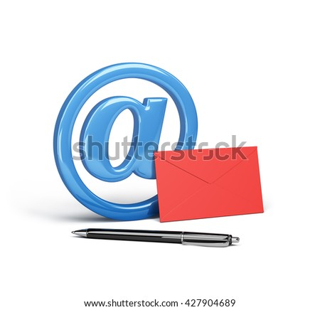 Envelope, pen and electronic mail sign. 3d image. White background.