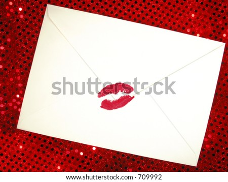 envelope sealed with a kiss - stock photo