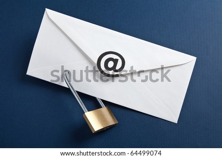 Envelope with at Symbol and lock, concept of E-Mail Security - stock photo