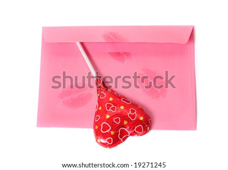 envelope with chocolate heart - stock photo