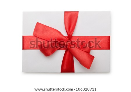 Envelope with colourful ribbon on white