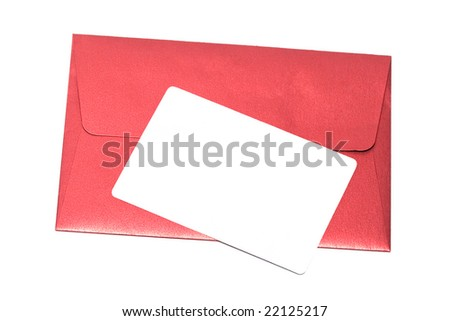 envelope with congratulatory card isolated on white background