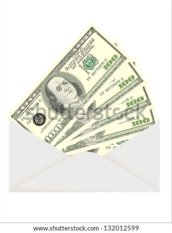 Envelope with dollars isolated on white - stock photo