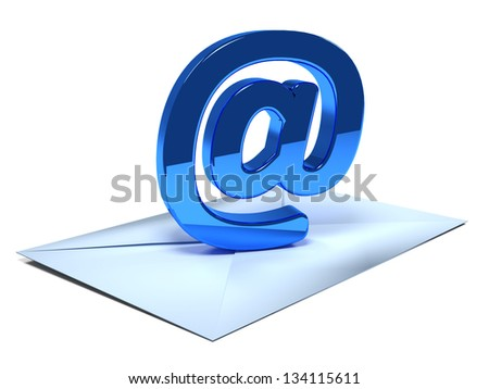 Envelope with email symbol - email concept - stock photo
