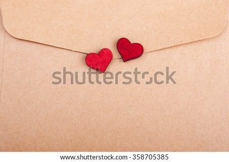 Envelope with heart - valentines holiday background