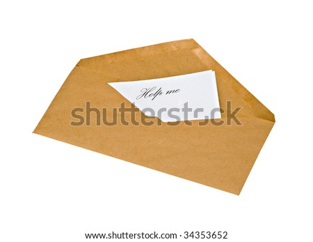 Envelope with letter asking for help