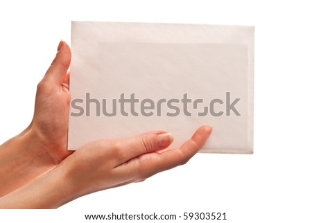 Envelope with letter in woman's hands. Isolated on white - stock photo