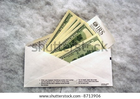 Envelope Money Irs Form Sticking Out Stock Photo Royalty Free