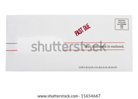 Envelope with past due on a isolated on white - stock photo