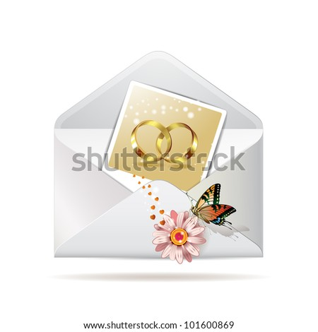 Envelope with photo of two wedding ring - stock photo