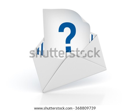 Envelope with Question Mark - High Quality 3D Render  - stock photo