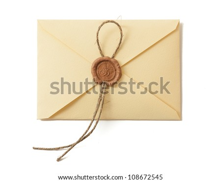 Envelope with seal isolated on white. Closeup. - stock photo