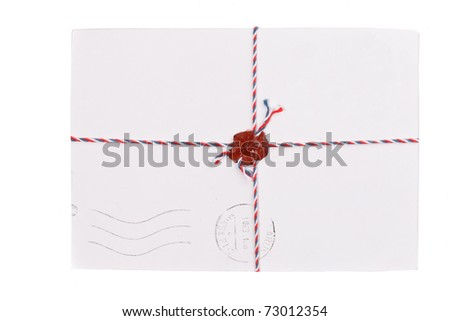 envelope with stamp - stock photo
