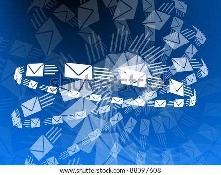Envelopes flying through the air! - stock photo