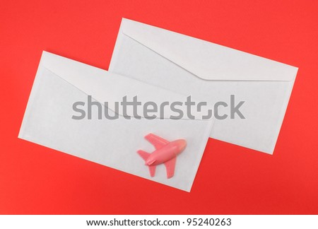 envelopes for letters on red background
