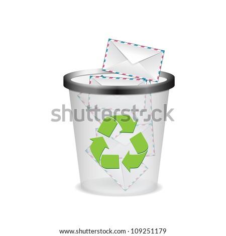 envelopes in the trash - stock photo