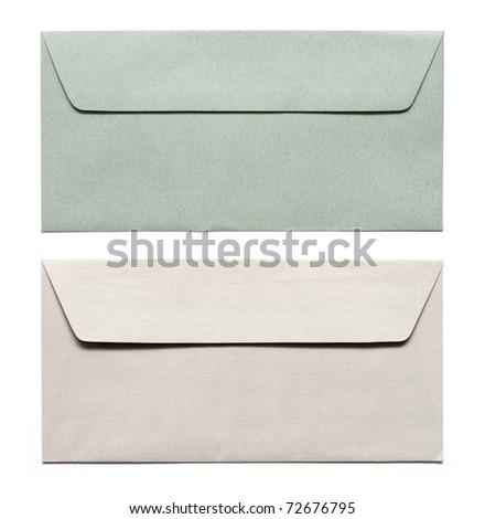 envelopes isolated on white - stock photo