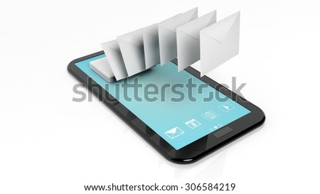 Envelopes on tablet screen isolated on white background