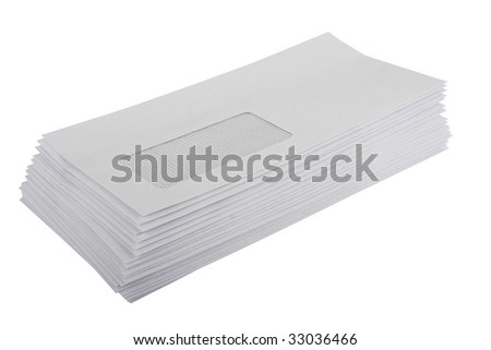Envelopes white empty isolated stacked - stock photo