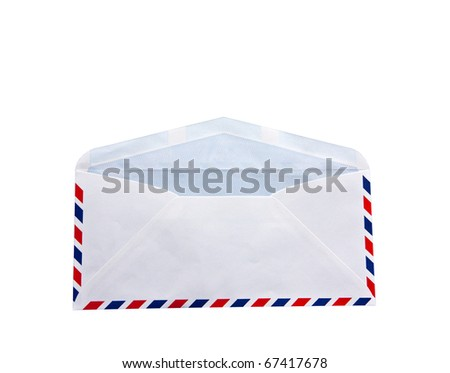 Envelopment letter open over white background - stock photo