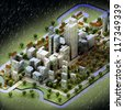 enviromental new sustainable city winter concept development illustration perspective render illustration - stock photo