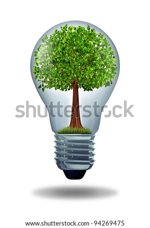 Environment and green energy ecological symbol of conservation and alternative electrical power to get off the grid with battery or hybrid charge to conserve nature with a green tree in a light bulb. - stock photo