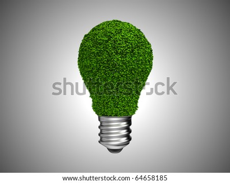 Environment and green energy. Lightbulb with leaves over grey