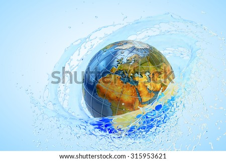 Environment conservation, environmental protection and ecology concept, clear cold water swirl around the planet Earth globe on blue background (Elements of this image furnished by NASA) - stock photo