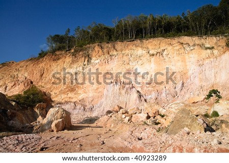 environment damaged by open quarry - stock photo