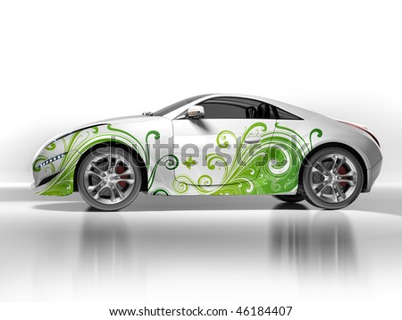 Environment-friendly car.  My own car design. Not associated with any brand. - stock photo
