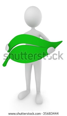 Environment friendly man holding green leaf - stock photo