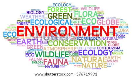 Environment info-text graphics and arrangement concept on white background (word cloud) - stock photo