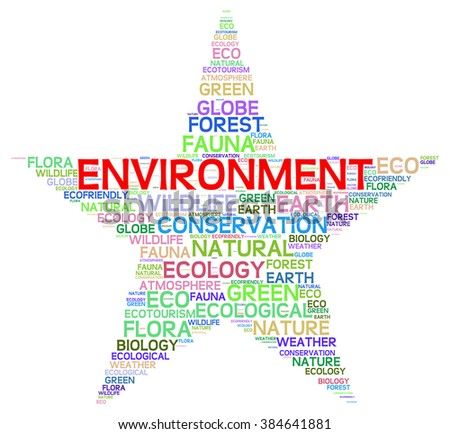 Environment info-text graphics and arrangement concept on white background (word cloud)