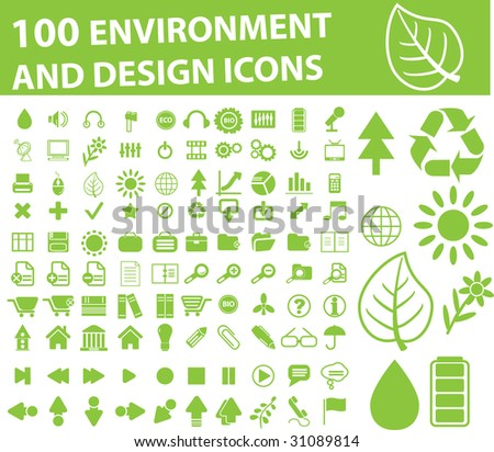 environment, nature, green design, bio, flower, tree, arrows, energy, recycling, collection icons, signs vector