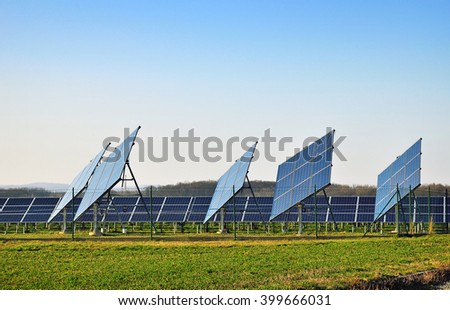 Environment, solar station producing electric power - stock photo
