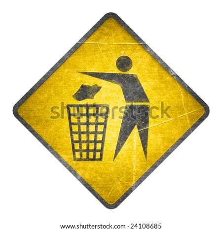 environment symbol on a yellow sign - stock photo