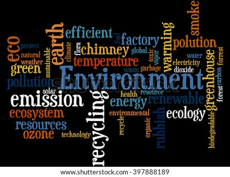 Environment, word cloud concept on black background.
