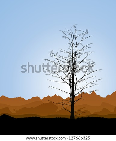 Environmental background with a dead tree silhouette. Raster version.
