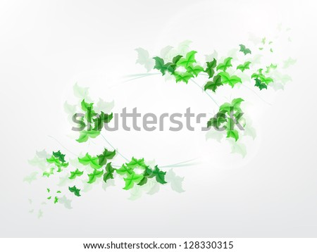 Environmental Background with green leaf butterflies on a light green background.