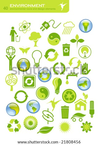 environmental buttons and design elements - raster version of img. no. 16611211 - stock photo