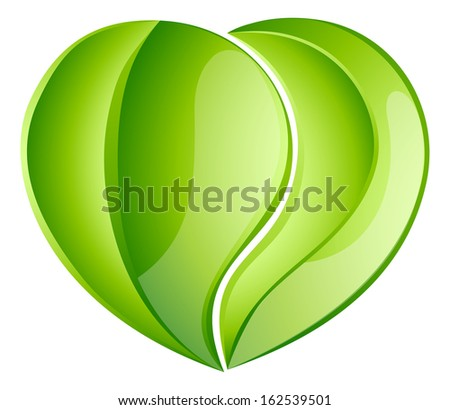 Environmental charity love green leaf heart concept. Leaves growing into a heart shape, concept for any environmental conservation issue, charity work or earth day - stock photo
