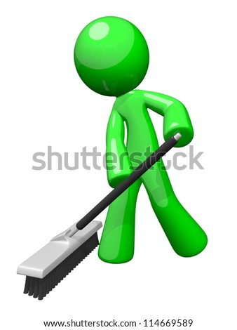 Environmental cleaning and sanitation services. A green man pushing a broom. Great example of caring for the eco system and envoronment. - stock photo