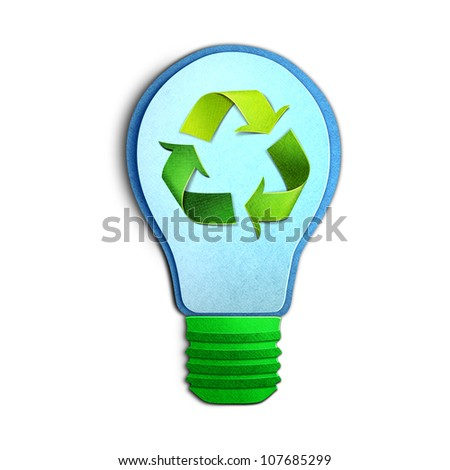 Environmental concept paper cut illustration � light bulb with recycle symbol - stock photo