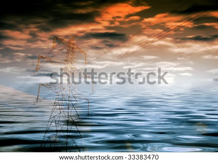 Environmental concept showing electricity pylon overlaid over flood waters and cloudy sky