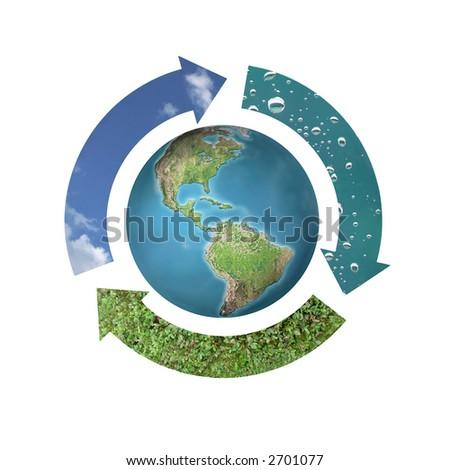 Environmental conceptual image of three arrows forming circle around Earth representing three natural elements - air, water and soil over white background - stock photo