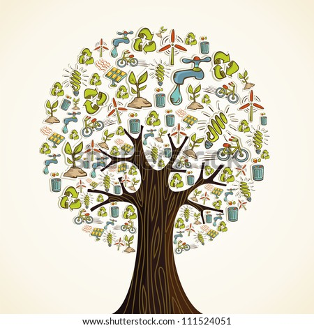 Environmental conservation hand drawn icons in tree shape.