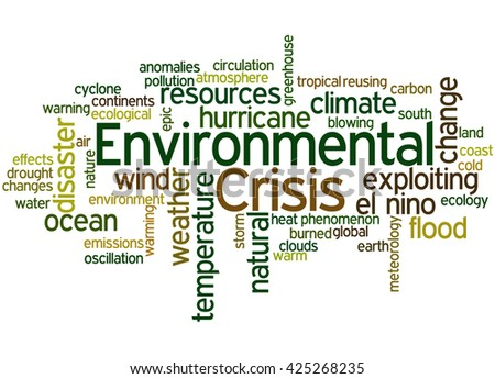 Environmental Crisis, word cloud concept on white background.